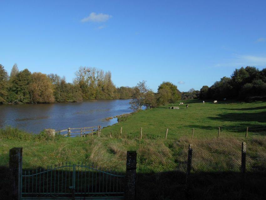 Sablé sur Sarthe Propriété en campagne avec terrain bordé par la rivière Large vue sur la campagne et sur La Sarthe depuis la terrasse
